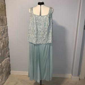 NWT Alex Evenings gown, seafoam w/ sequins, 22W